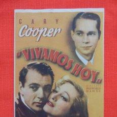 Cine: VIVAMOS HOY, SENCILLO, GARY COOPER, CON PUBLICIDAD GRAN CINEMA. Lote 173661408