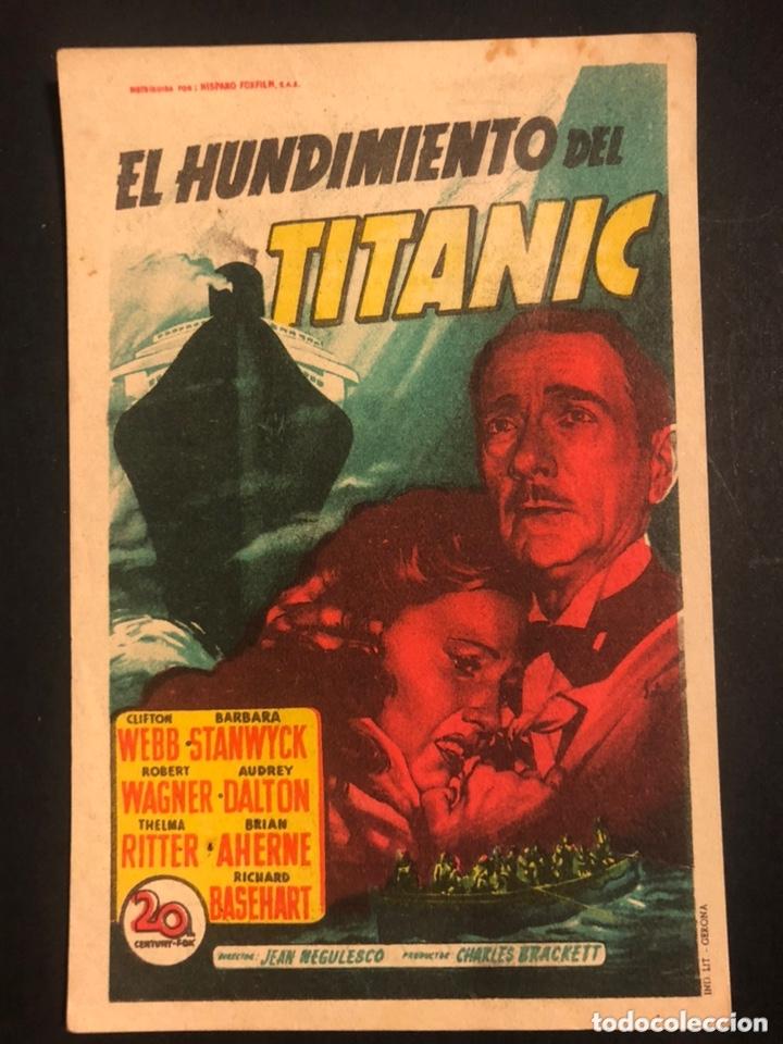 PROGRAMA EL HUNDIMIENTO DEL TITANIC.CLIFTON WEBB BARBARA STANWYCK.SOLIGO.CON PUBLICIDAD (Cine - Folletos de Mano - Drama)