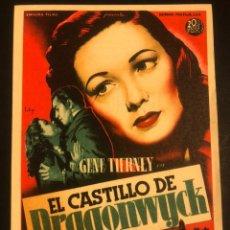 Cine: PROGRAMA EL CASTILLO DE DRAGONWYCK.GENE TIERNEY.SOLIGO.CON PUBLICIDAD. Lote 173679464