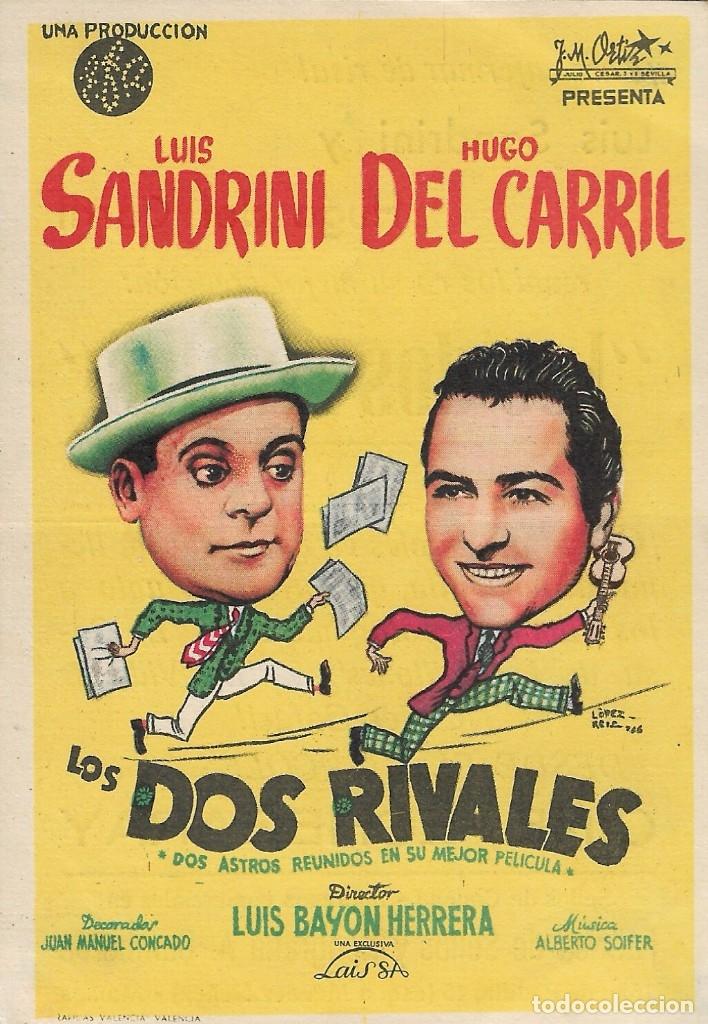 PROGRAMA DE CINE - LOS DOS RIVALES - LUIS SANDRINI, HUGO DEL CARRIL - CINE ECHEGARAY (MÁLAGA) - 1944 (Cine - Folletos de Mano - Comedia)