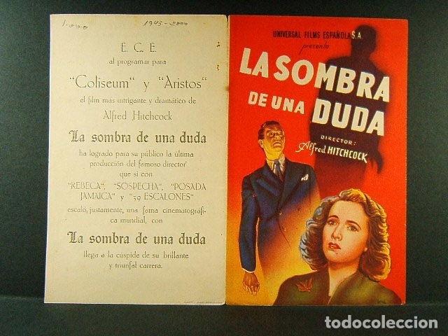 LA SOMBRA DE UNA DUDA-ALFRED HITCHCOCK-TERESA WRIGHT-JOSEPH COTTEN-E.C.E. COLISEUM Y ARISTOS-AÑOS 40 (Cine - Folletos de Mano - Suspense)