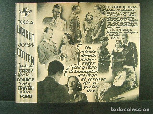 Cine: LA SOMBRA DE UNA DUDA-ALFRED HITCHCOCK-TERESA WRIGHT-JOSEPH COTTEN-E.C.E. COLISEUM Y ARISTOS-AÑOS 40 - Foto 2 - 206277010