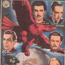 Flyers Publicitaires de films Anciens: PROGRAMA DE CINE - LOS INVASORES - LAURENCE OLIVIER, LESLIE HOWARD - TEATRO CINE ALBÉNIZ (MÁLAGA). Lote 173836652