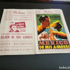 Cine: PROGRAMA DE MANO ORIG - MEXICO DE MIS AMORES - CON CINE EN LA TRASERA ( MARTINENSE) . Lote 173867122