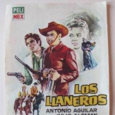 Cine: PROGRAMA DE MANO LOS LLANEROS CON ANTONIO AGUILAR. Lote 173923223
