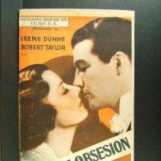 Cine: SUBLIME OBSESION-JOHN M. STAHL-IRENE DUNNE-TEATRE EUTERPE-U.G.T.-C.N.T.-PUBLICIDAD CATALAN-1935.. Lote 173947592