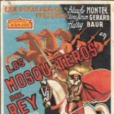 Cine: PROGRAMA DE CINE - LOS MOSQUETEROS DEL REY - CINE DUQUE, JARDIN Y PLUS ULTRA (MÁLAGA) - 1932.. Lote 174028732