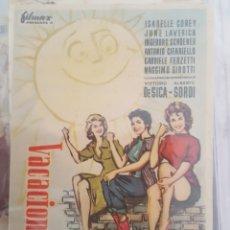 Cine: FOLLETO DE MANO / VACACIONES EN ITALIA / CINE PALAFOX 15/11/1957. Lote 174033453