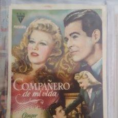 Cine: FOLLETO DE MANO / COMPAÑERO DE MI VIDA / 3/2/1946 CINE CENTRO ARTISTICO. Lote 174033948