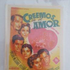 Cine: FOLLETO DE MANO / CREEMOS EN EL AMOR / CINE KURSAAL. Lote 174034615