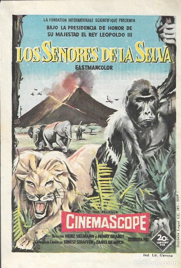 PROGRAMA DE CINE - LOS SEÑORES DE LA SELVA- 20TH CENTURY FOX - COLISEO NACIONAL (MELILLA) - 1958. (Cine - Folletos de Mano - Documentales)