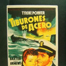 Flyers Publicitaires de films Anciens: TIBURONES DE ACERO-MILTON SPERLING-TYRONE POWER-SOLIGO-CINEMA VICTORIA-SAN FELIU DE GUIXOLS-1950. . Lote 174079297