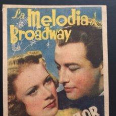 Cine: PROGRAMA LA MELODÍA DE BROADWAY ELEANOR POWELL ROBERT TAYLOR.CON PUBLICIDAD. Lote 174158994