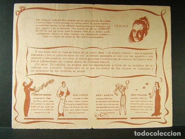Cine: TURBANTE BLANCO-IQUINO-ADRIANO RIMOLDI-RAUL CANCION-ALICIA PALACIOS-JOSE MARIA-CINE NURIA-SALT-1946. - Foto 2 - 174273534