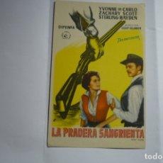 Cine: PROGRAMA LA PRADERA SANGRIENTA - YVONNE DE CARLO -PUBLICIDAD CERVANTES GRANADA??. Lote 174295349