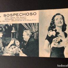 Cine: FICHA PROGRAMA 38 EL SOSPECHOSO.CHARLES LAUGHTON ELLA RAINES.ROBERT SIODMAK. Lote 174306528