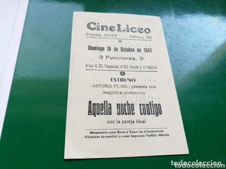 Cine: Programa de cine simple. Aquella noche contigo. Cine Liceo de Mérida - Foto 2 - 174309323