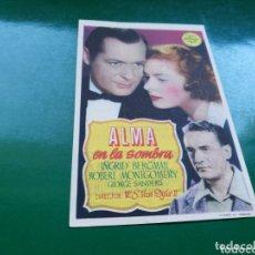 Cine: PROGRAMA DE CINE SIMPLE. ALMA EN LA SOMBRA. CINE LICEO DE MÉRIDA. 1949. Lote 174309378