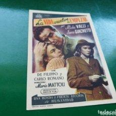 Cine: PROGRAMA DE CINE SIMPLE. LA VIDA VUELVE A EMPEZAR. CINE LICEO DE MÉRIDA. 1947. Lote 174309423