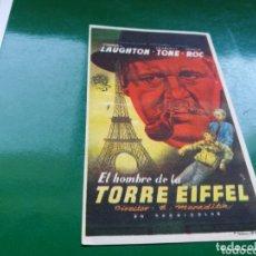 Cine: PROGRAMA DE CINE SIMPLE. EL HOMBRE DE LA TORRE EIFFEL. CINE LICEO DE MÉRIDA. Lote 174309463