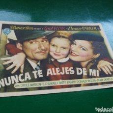 Cine: PROGRAMA DE CINE SIMPLE. NUNCA TE ALEJES DE MI. CINE LICEO DE MÉRIDA. 1948. Lote 174309523