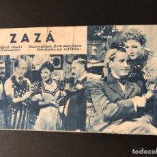 Cine: FICHA PROGRAMA 197 ZAZA CLAUDETTE COLBERT HERBERT MARSHALL. Lote 174309644