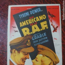 Cine: PROGRAMA DE MANO DE LA PELÍCULA UN AMERICANO EN LA R.A.F. CON TYRONE POWER.. Lote 174336437