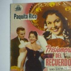 Cine: PROGRAMA DOBLE PRISIONERA DEL RECUERDO - PAQUITA RICO -PUBLICIDAD. Lote 174382022