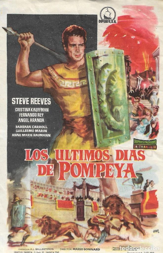PROGRAMA DE CINE - LOS ÚLTIMOS DÍAS DE POMPEYA - STEVE REEVES - CINE ECHEGARAY (MÁLAGA) - 1959. (Cine - Folletos de Mano - Aventura)