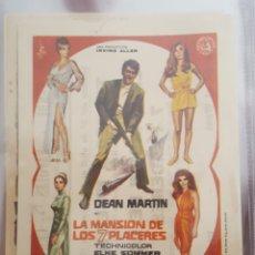 Cine: FOLLETO DE MANO / LA MANSION DE LOS 7 PLACERES / CINES VERDI. NAPOLES. CERVANTES 3/5/1970. Lote 174464578