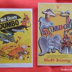Cine: DUMBO, 2 IMPECABLES SENCILLOS, WALT DISNEY, 1 CON PUBLI AVENIDA 1967. Lote 174520223