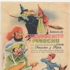 Cine: PROGRAMA DE CINE: AVENTURAS DE CUCURUCHITO Y PINOCHO. SIN PUBLICIDAD PC-4486. Lote 174568264