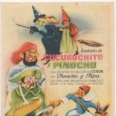 Cine: PROGRAMA DE CINE: AVENTURAS DE CUCURUCHITO Y PINOCHO. CON PUBLICIDAD PC-4487. Lote 174568420