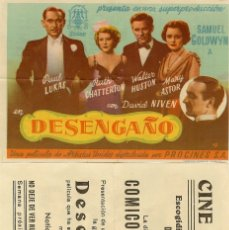 Cine: DESENGAÑO. Lote 174568449