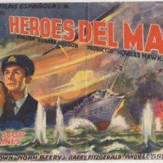 Flyers Publicitaires de films Anciens: PROGRAMA DE CINE: HEROES DEL MAR. SIN PUBLICIDAD PC-4492. Lote 174574305