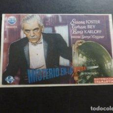 Cine: MISTERIO EN LA OPERA CON BORIS KARLOFF PROGRAMA DE MANO SIN PUBLICIDAD. Lote 175015494
