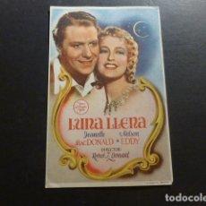 Cine: LUNA LLENA JEANETTE MACDONALD NELSON EDDY PROGRAMA DE MANO SIN PUBLICIDAD . Lote 175017864