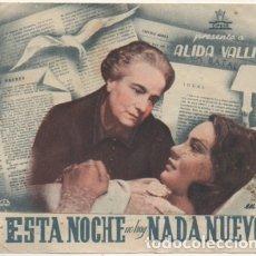 Folhetos de mão de filmes antigos de cinema: PROGRAMA DE CINE DOBLE : ESTA NOCHE NO HAY NADA NUEVO PC-4519. Lote 175027645