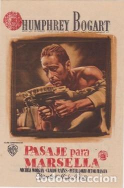 PASAJE PARA MARSELLA (CON PUBLICIDAD) (Cine - Folletos de Mano - Bélicas)