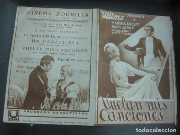 VUELAN MIS CANCIONES. MARTHA EGGERT. HANS JARAY. 1934. PROGRAMA DE CINE. FOLLETO DE MANO. (Cine - Folletos de Mano - Musicales)