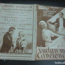 Cine: VUELAN MIS CANCIONES. MARTHA EGGERT. HANS JARAY. 1934. PROGRAMA DE CINE. FOLLETO DE MANO.. Lote 175199543