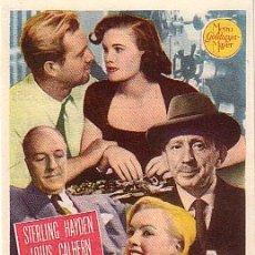 Foglietti di film di film antichi di cinema: LA JUNGLA DE ASFALTO (CON PUBLICIDAD). Lote 175457613