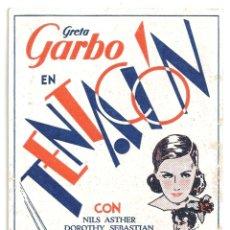 Cine: PTEB 064 TENTACION PROGRAMA TARJETA MGM GRETA GARBO NILS ASHTER. Lote 175616402