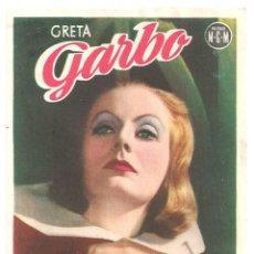 Cine: PTEB 064 LA REINA CRISTINA DE SUECIA PROGRAMA SENCILLO MGM GRETA GARBO JOHN GILBERT. Lote 175616915