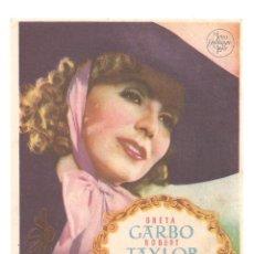 Cine: PTEB 064 MARGARITA GAUTIER PROGRAMA SENCILLO MGM GRETA GARBO ROBERT TAYLOR. Lote 175617168