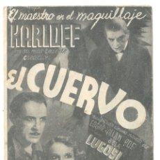 Cine: PTEB 065 EL CUERVO PROGRAMA DOBLE UNIVERSAL BORIS KARLOFF BELA LUGOSI EDGAR ALLAN POE. Lote 175620980
