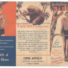 Cine: PTEB 065 TARZAN DE LOS MONOS PROGRAMA TRIPTICO SIN DOBLAR URUGUAYO MGM JOHNNY WEISSMULLER O'SULLIVAN. Lote 175623743