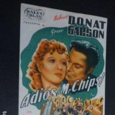 Cine: ADIOS MR, CHIPS PROGRAMA DE MANO SIN PUBLICIDAD. Lote 175653664