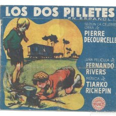Cine: PTEB 066 LOS DOS PILLETES PROGRAMA DOBLE PEQUEÑO HUET FERNAND RIVERS. Lote 175663234
