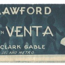 Cine: PTEB 066 AMOR EN VENTA PROGRAMA DOBLE MGM JOAN CRAWFORD CLARK GABLE. Lote 175664405